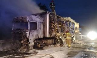 Pożar na drodze S8, w ogniu stanął samochód ciężarowy